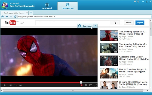 Aimersoft Free YouTube Downloader Browser