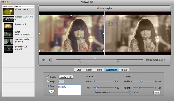aimersoft mac dvd creator edit