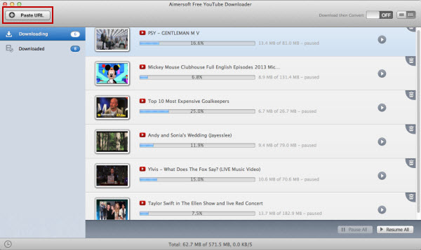 aimersoft free youtube downloader for mac url