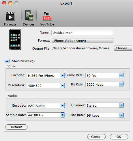 aimersoft mac video studio express export